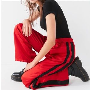 Red Satin Track Pants from Urban Outfitters
